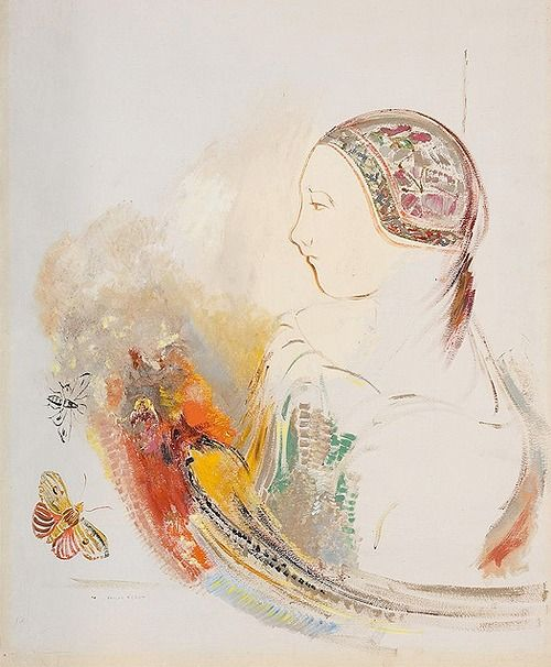 Odilon Redon: Girl in profile with bird of paradise and butterflies ...