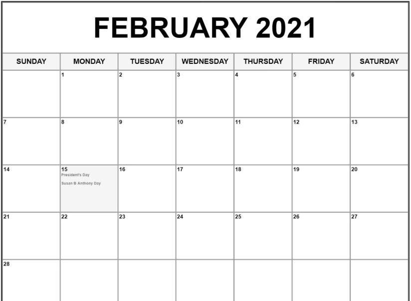 February 2021 Calendar In 2020 February Calendar Calendar Calendar 2019 Printable