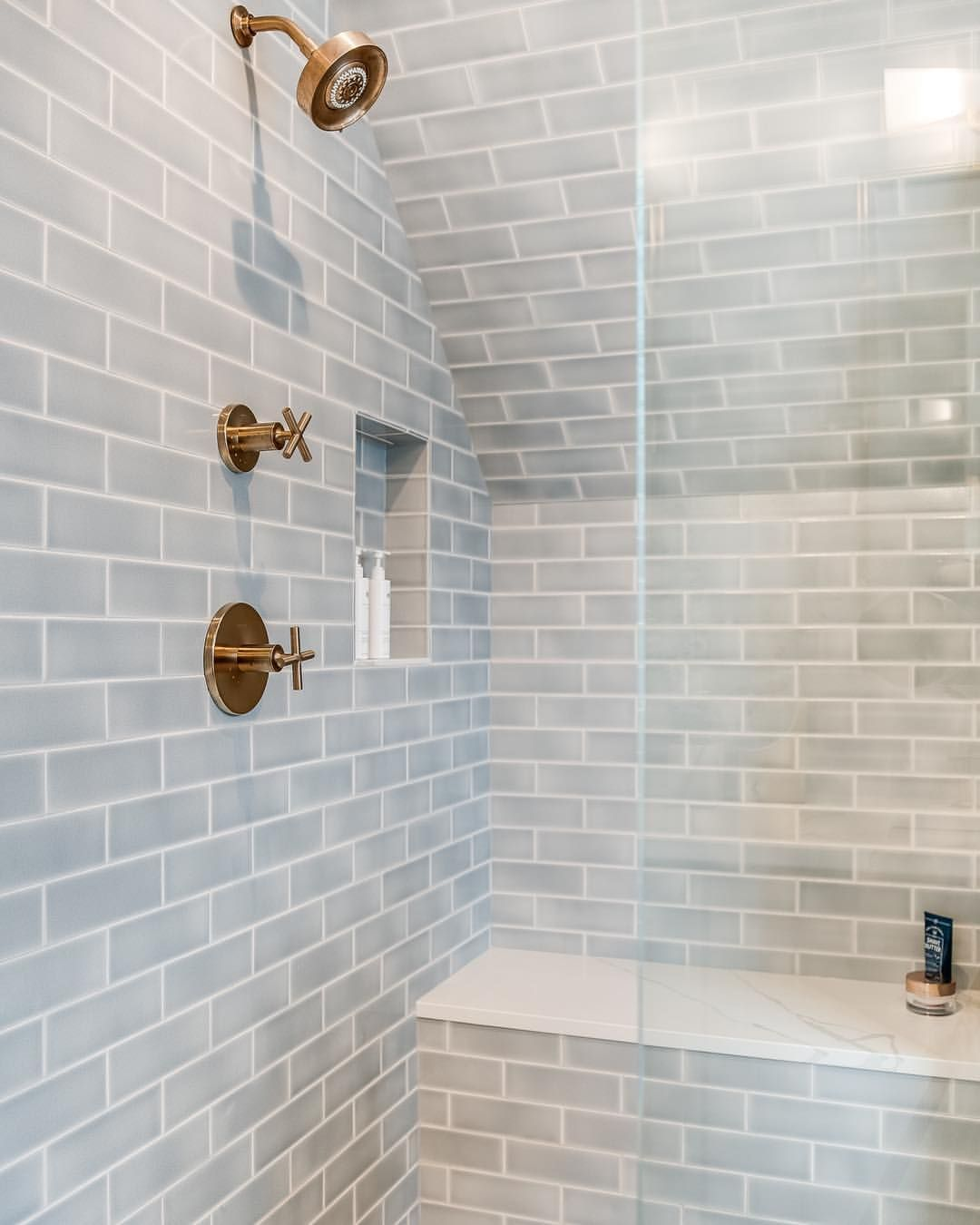 Serious Shower Envy Design Cara Alyn Interiors Fiocreative Tile Shown Foggy Morning 3x9 Bathroom Wall Tile Bathroom Floor Tiles Bathrooms Remodel