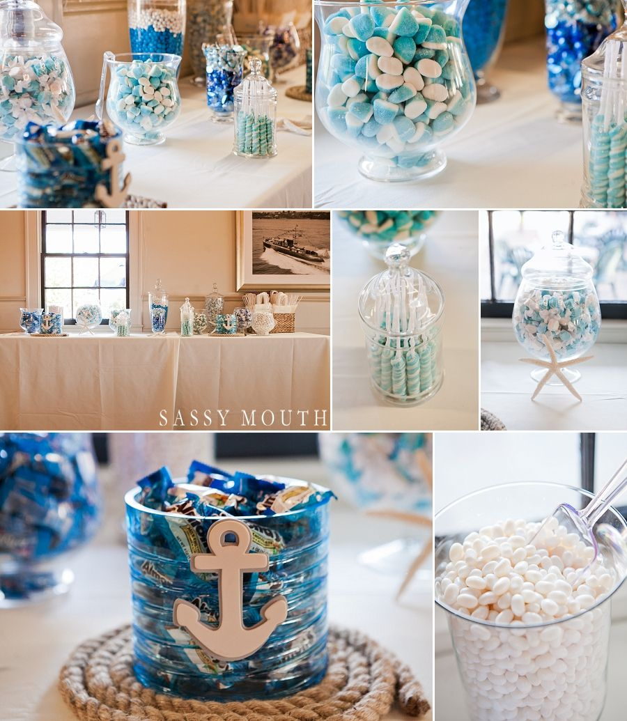 Nautical Wedding Ideas Pictures: Blue And White Candy Bar Seaside Wedding Inspiration