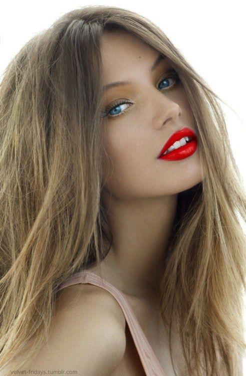 Model Blonde Hair Red Lips Mooi Gezicht Haar Mooie Vrouw