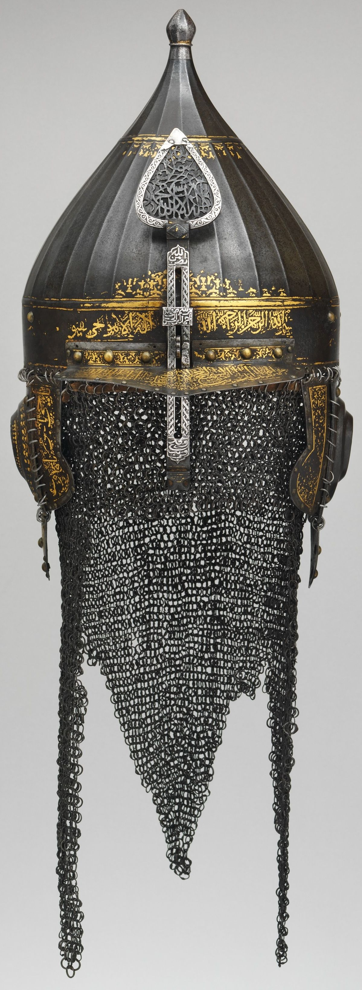 Ottoman Chichak Type Helmet 16th Century Steel Gold Silver