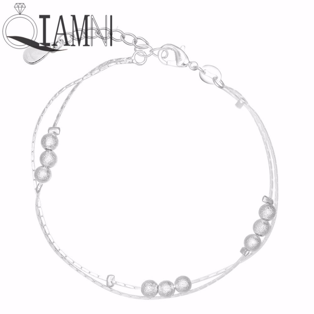 Qiamni 925 Sterling Silver Trendy Double Layer Beads Chain Bracelet