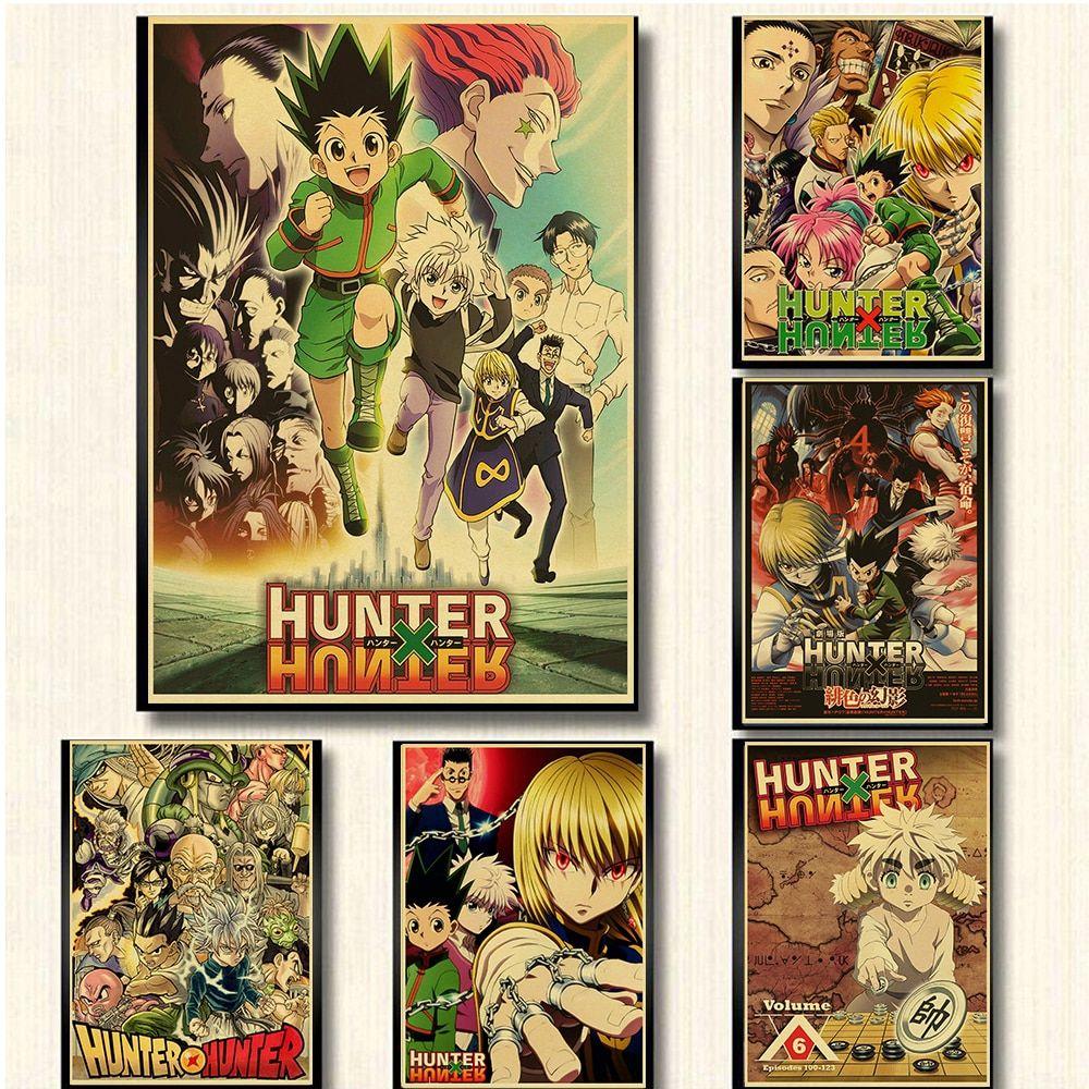 Hunter X Hunter Poster Popular Classic Japanese Anime Retro Poster Wall Art Home Bar Decor Single Prints Kraft Paper In 2020 Poster Wall Art Retro Poster Poster Wall