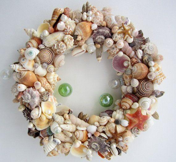 Beach Decor Seashell Wreath, Nautical Decor Shell Wreath