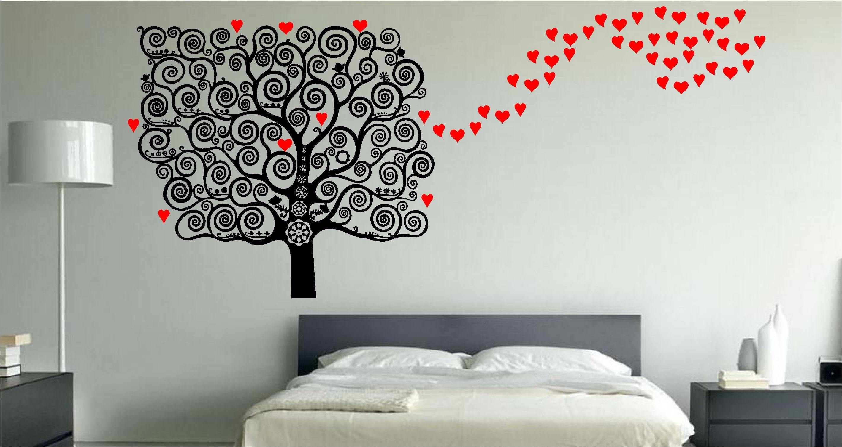 Furniture: Red And Black Polka Dot Tree Wall Decal Along With White ...