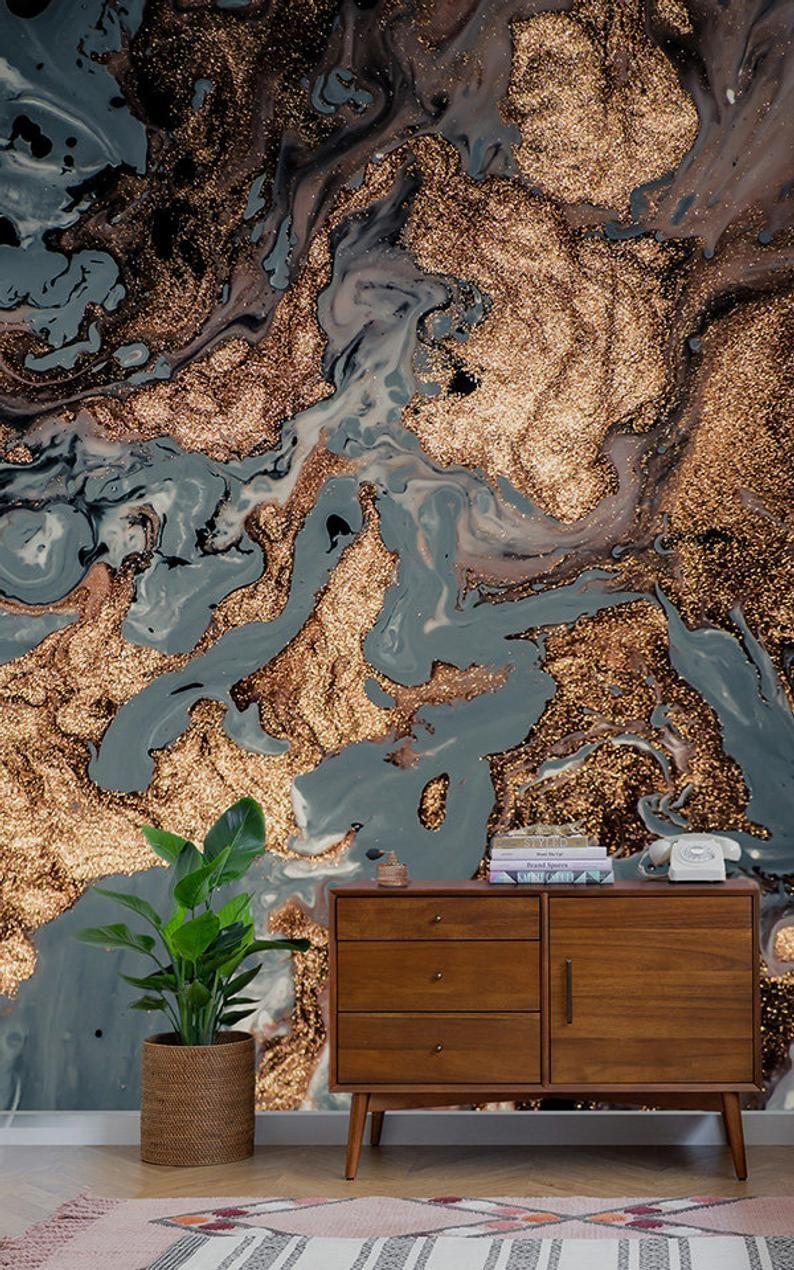 Gold Marble Wallpaper Abstract Peel And Stick Wallpaper Wall Etsy Decoracao Ideias De Decoracao Ideias