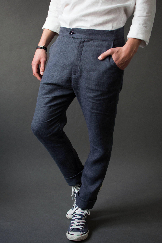 f046b7dd496 MEN S LINEN Trouser Pants. Gift for man  Men s trousers Mens tailored pants   Men s blue trousers by Va2du on Etsy  trouser