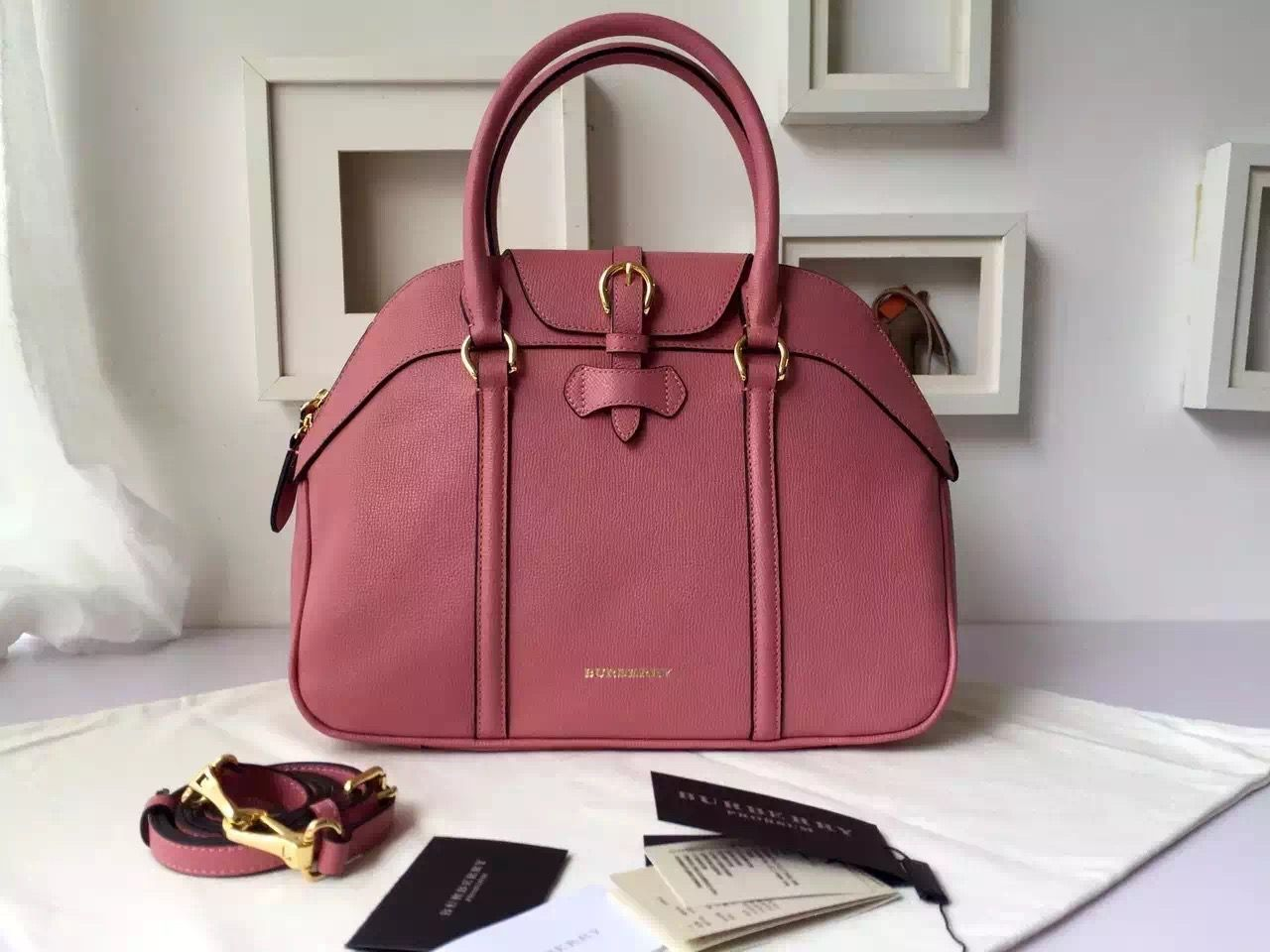ed73a3bab15 Burberry Large Leather Bowling Bag Pink   Burberry Bowling Bags on ...