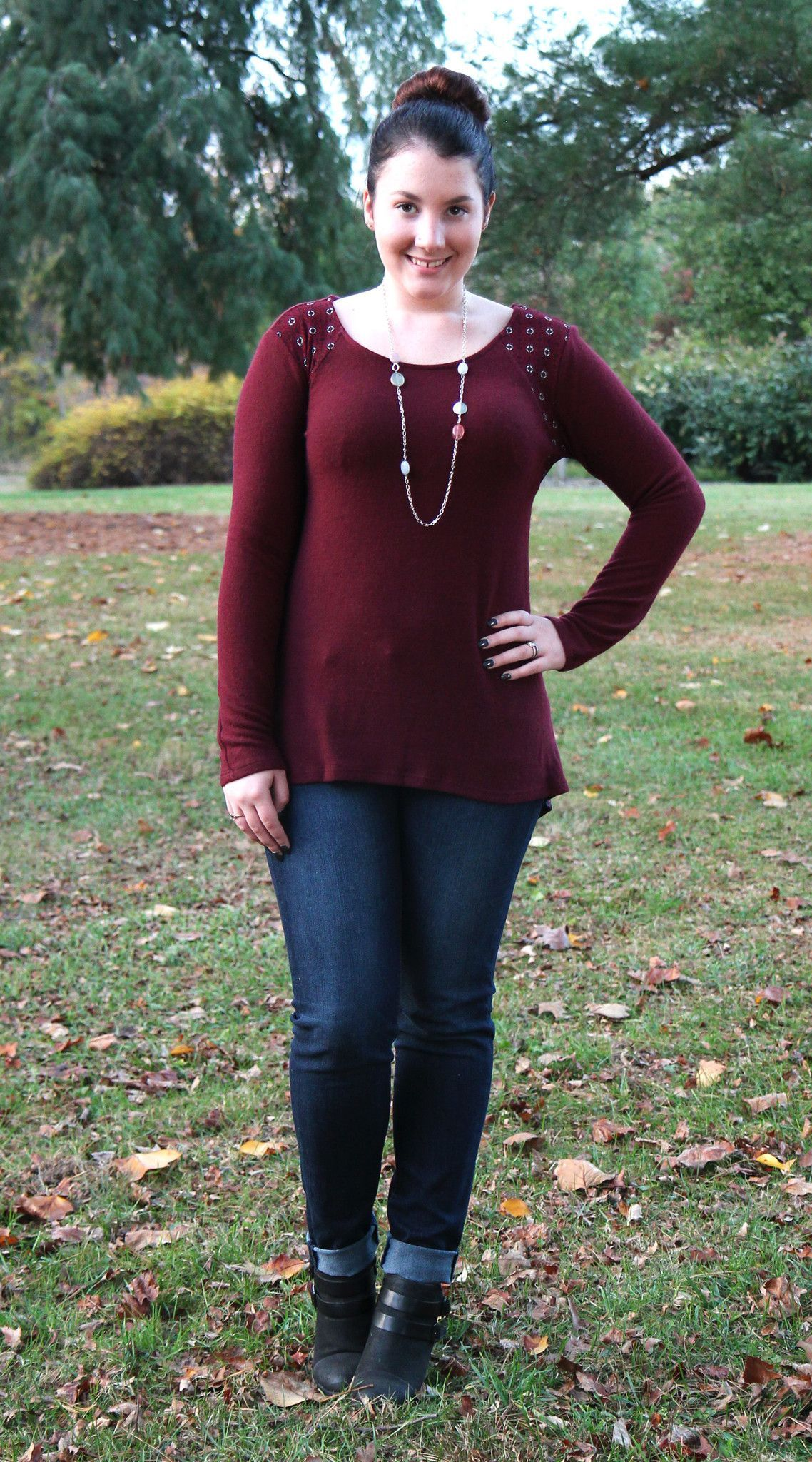Gilli Paneled Tapestry Printed Top in Burgundy