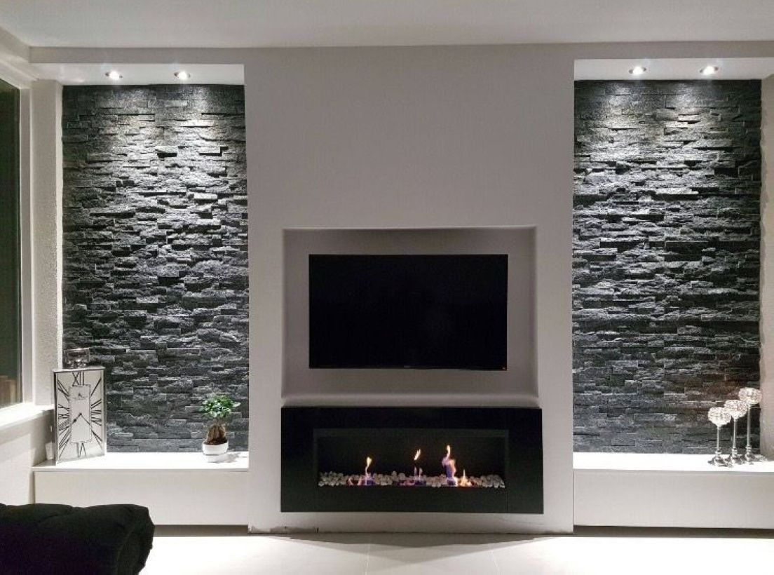 Awesome 52 Wall Tv Place Ideas By Using Pallets As Material For Making It Http Decoraiso Com Fireplace Tv Wall Living Room Tv Wall Living Room With Fireplace