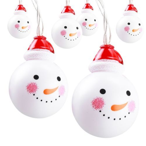 10pcs indoor home holiday christmas decorations snowman heads led string lights - Indoor Snowman Christmas Decorations