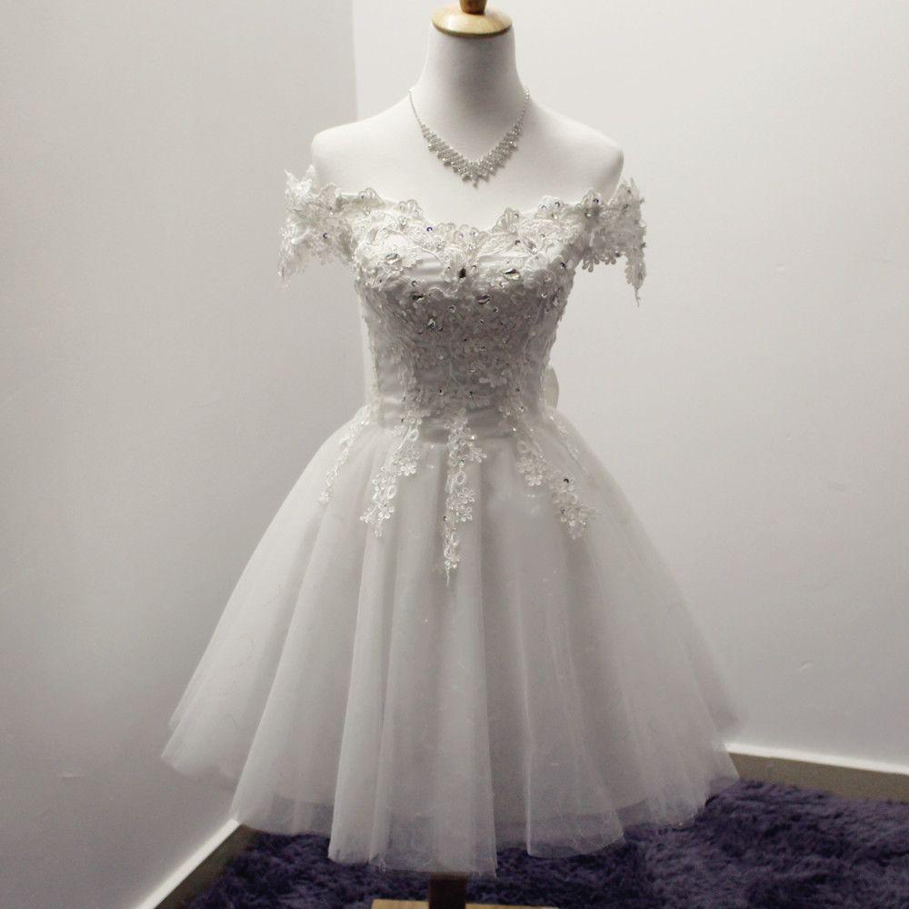Barato Branco Vermelho Apliques Fora do Ombro vestido de Baile Curto ...