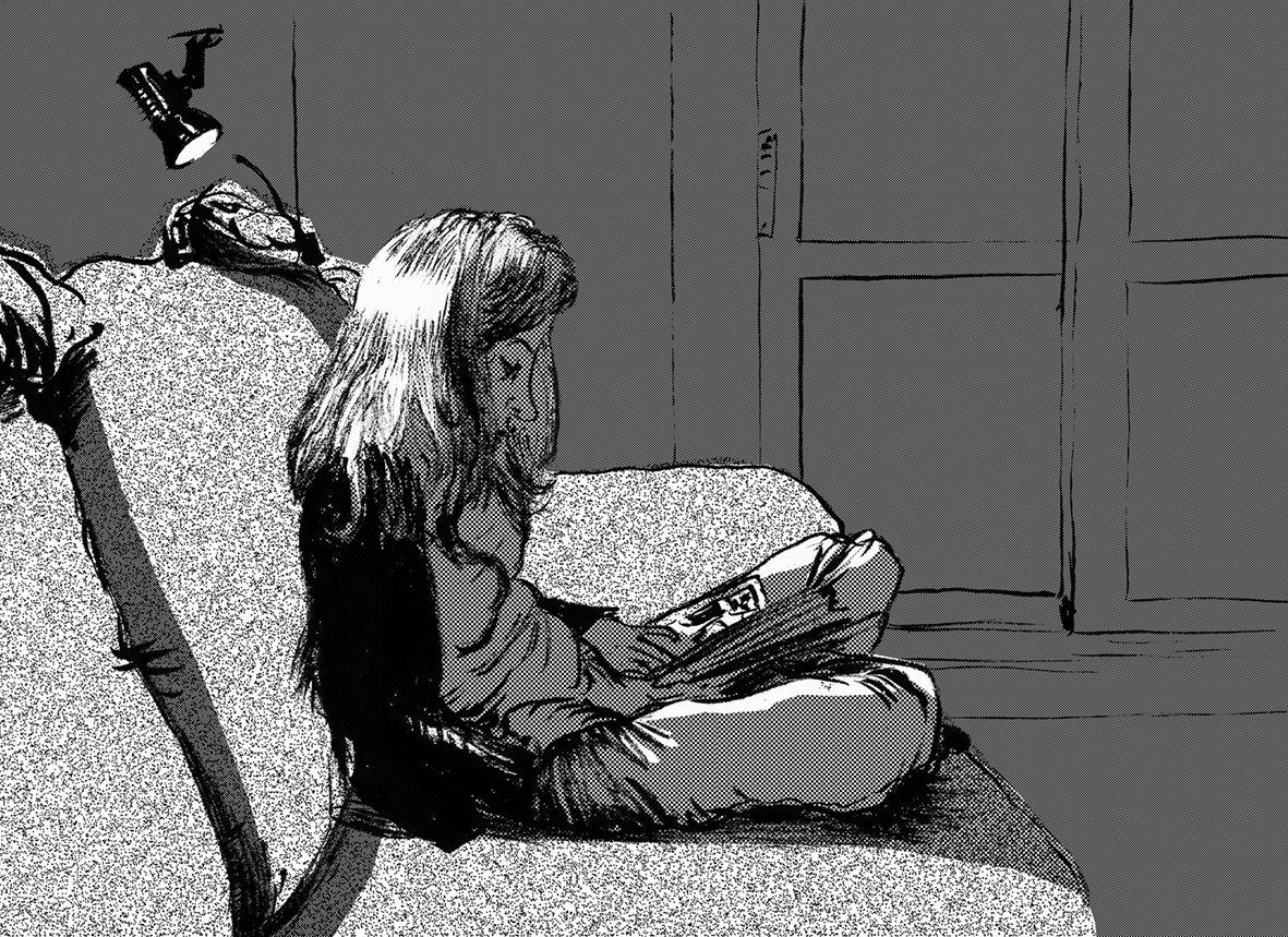 josedavidmorales: A friend reading. From my sketchbook. Una amiga leyendo. De mi bloc de dibujo.