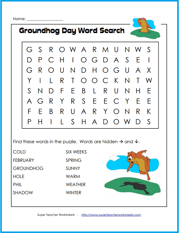 print out this fun groundhog day word search for your students to complete on february 2nd. Black Bedroom Furniture Sets. Home Design Ideas