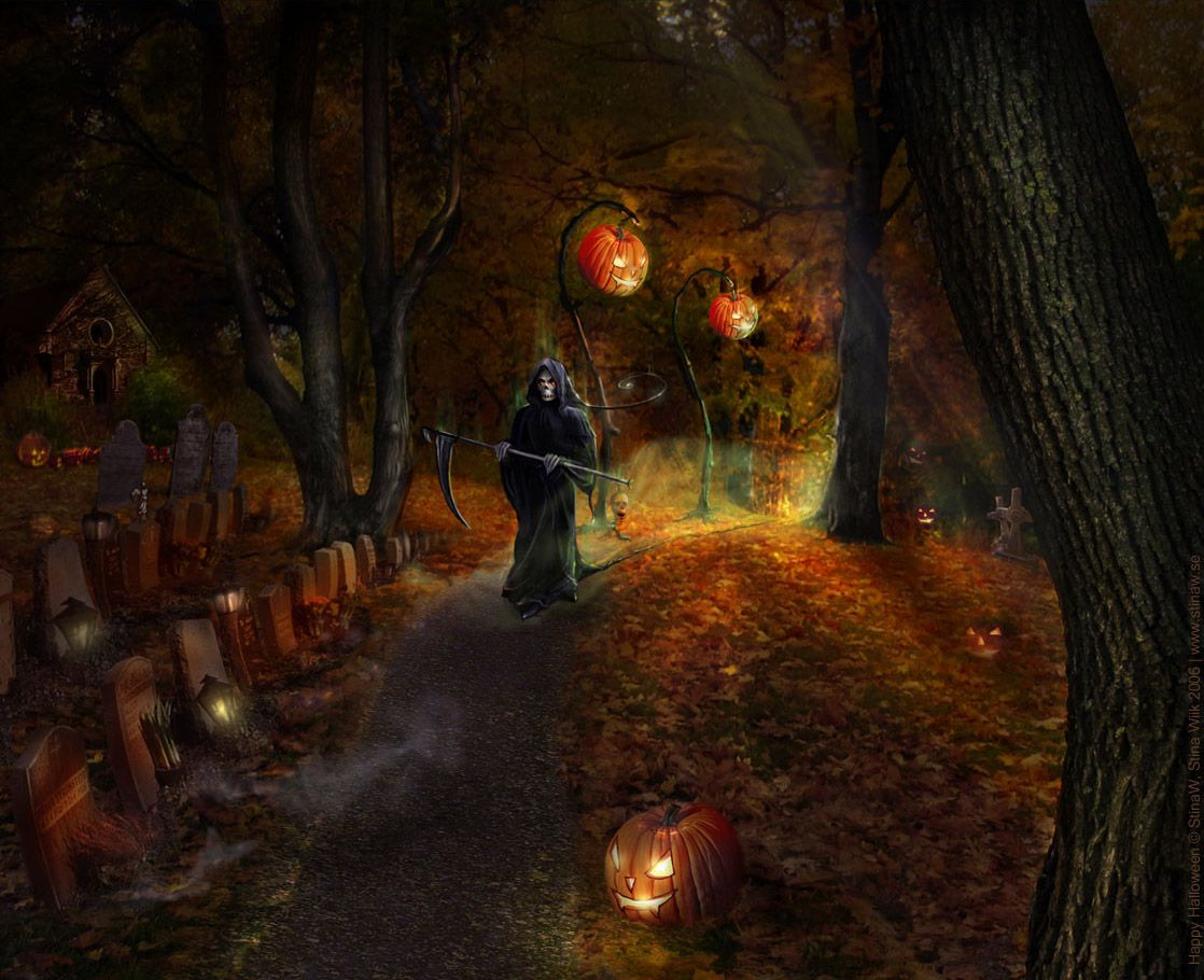 todays post is scary halloween 2012 hd wallpapers of pumpkins witches spider web bats and ghosts for you color your desktop by these wallpapers - Halloween Is Scary