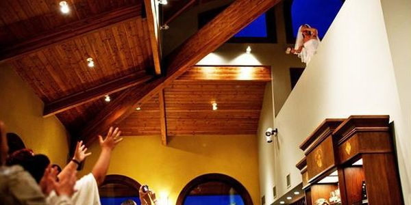 An Easy Bouquet Toss Of The Balcony Provided In Hanna Winery