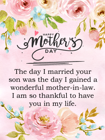 I Am Thankful Happy Mother S Day Card For Mother In Law Birthday Greeting Cards By Davia Happy Mothers Day Wishes Happy Mothers Day Sister Wishes For Mother