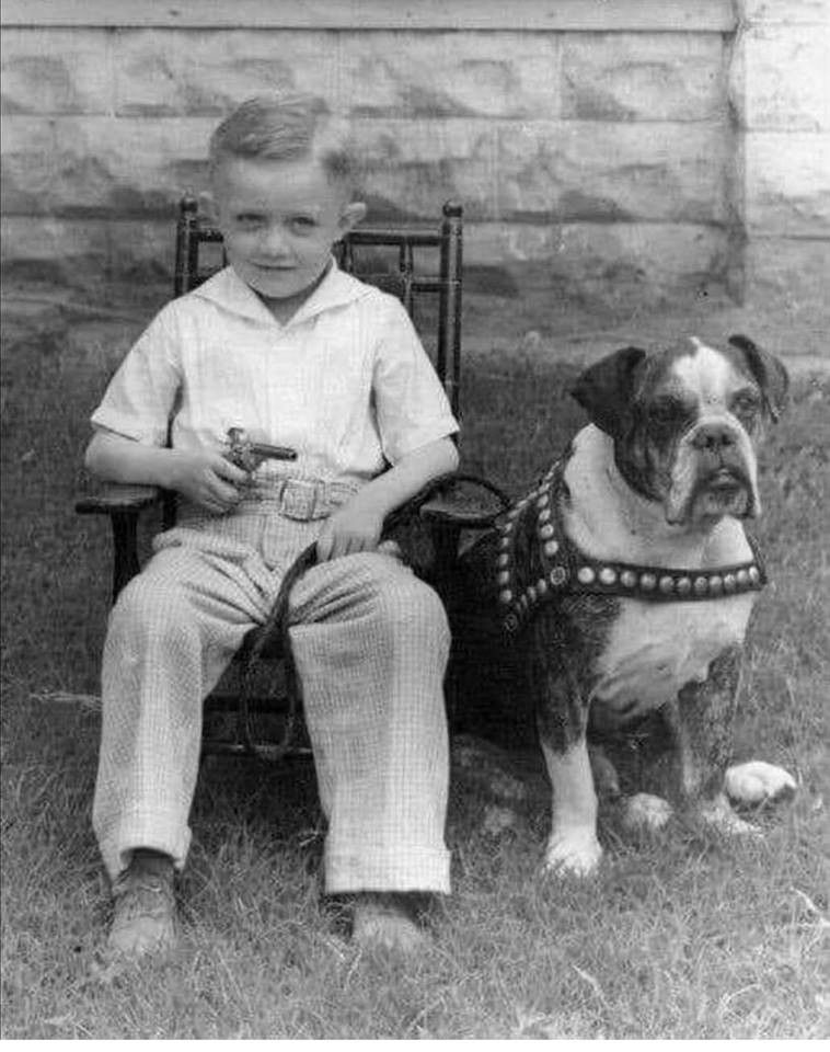 Vintage Picture Of A Young Boy And His Bulldog C 1940s Bulldog Dog Cat Vintage Pictures