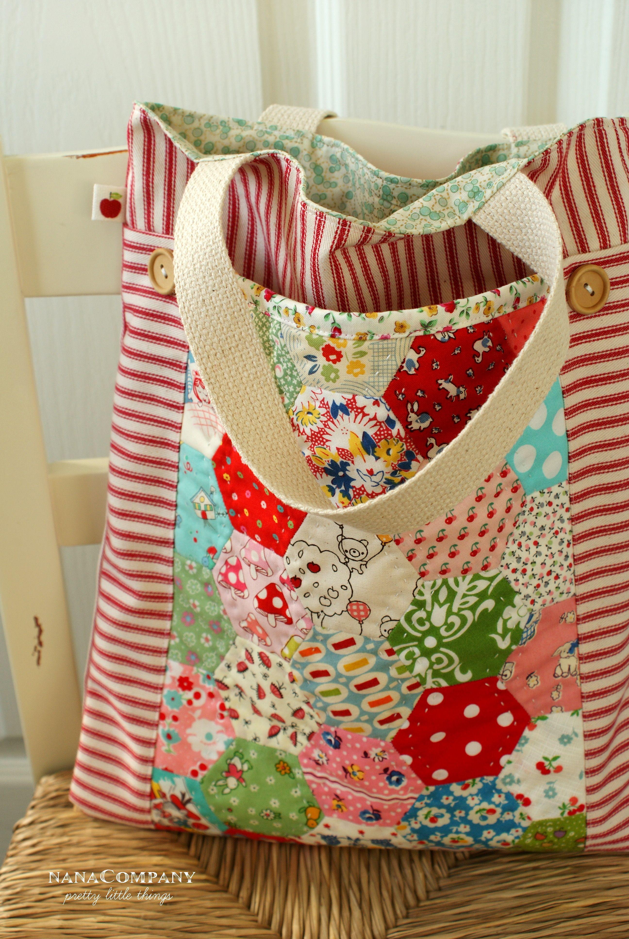 Bolsa con bolsillos con telas convinadas costura - Trabajos manuales con telas ...