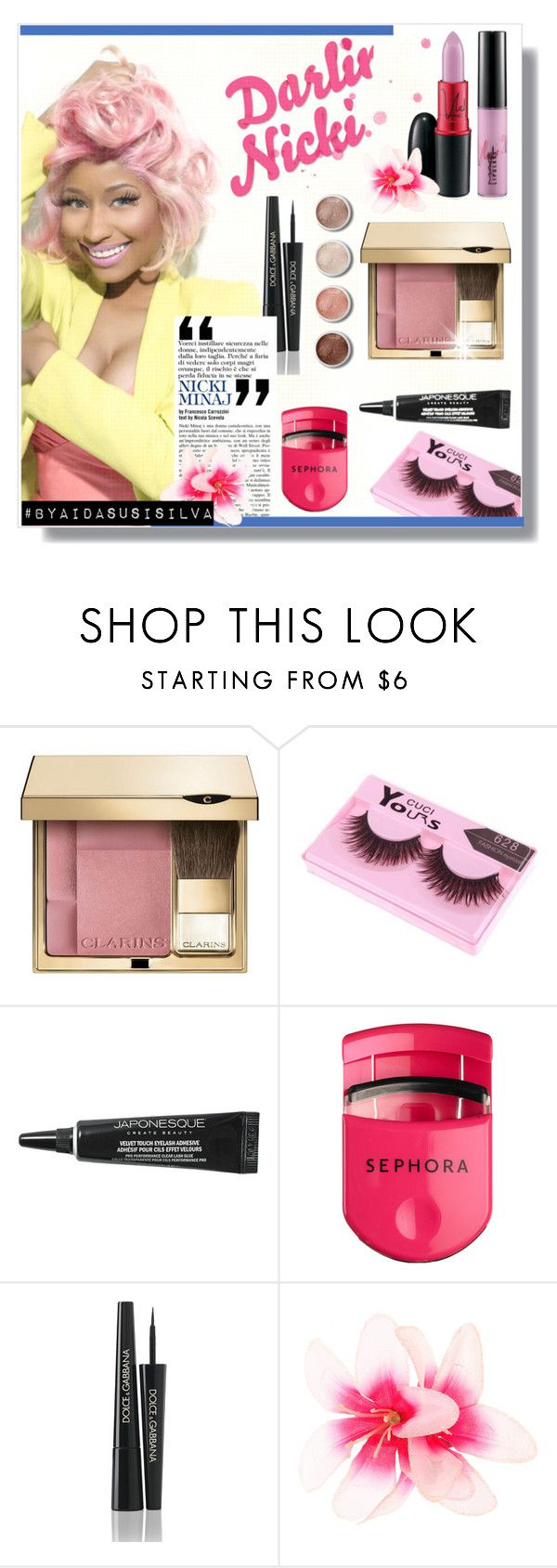 """Nicki Makeup"" by aidasusisilva ❤ liked on Polyvore featuring beauty, Nicki Minaj, Clarins, Terre Mère, Japonesque, Sephora Collection and Dolce&Gabbana"