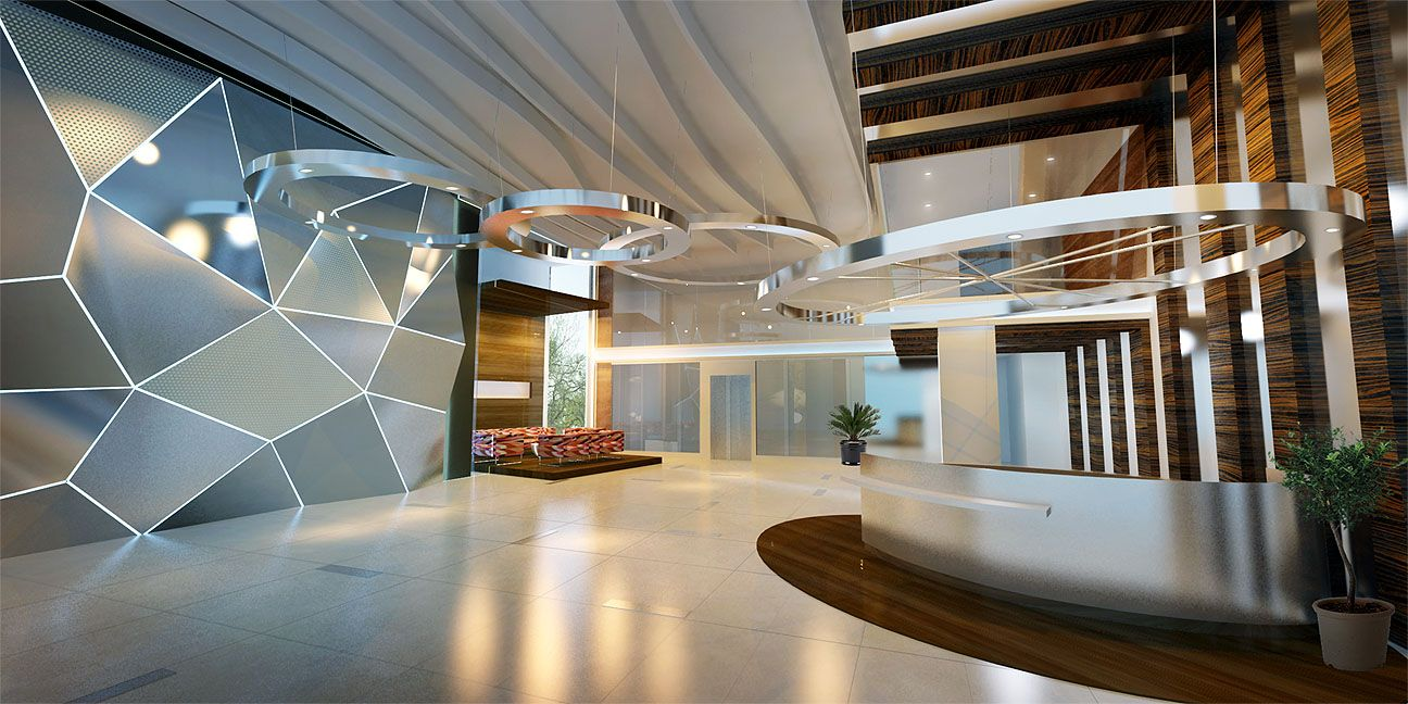 Interesting Modern Lobby Design with Unique Wall Style and ...
