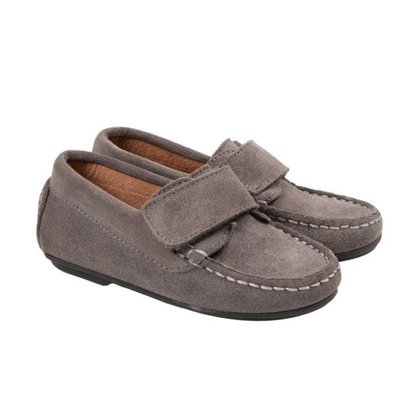aa533aeb6cd Boys  Suede Velcro Moccasins in Grey