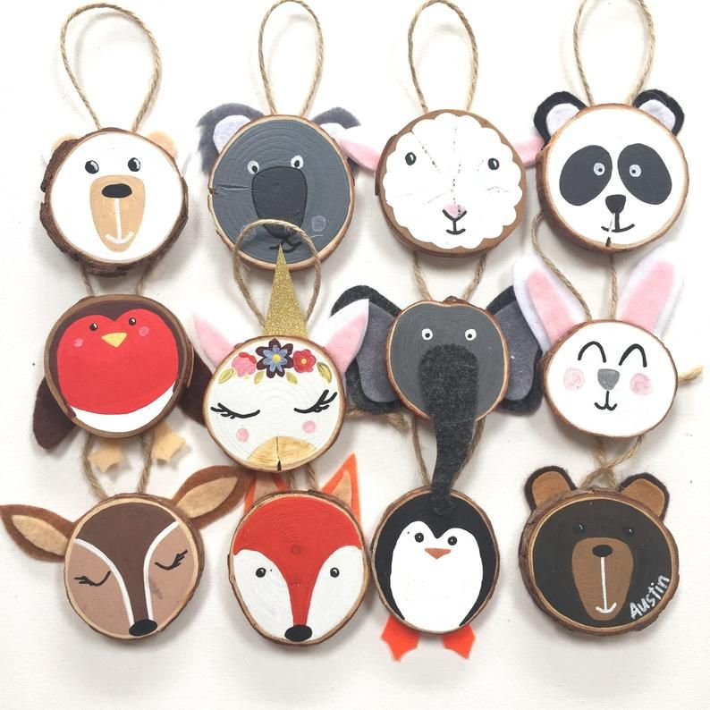 MAKE YOUR OWN Set of 3 Personalised Wood Slice Ani