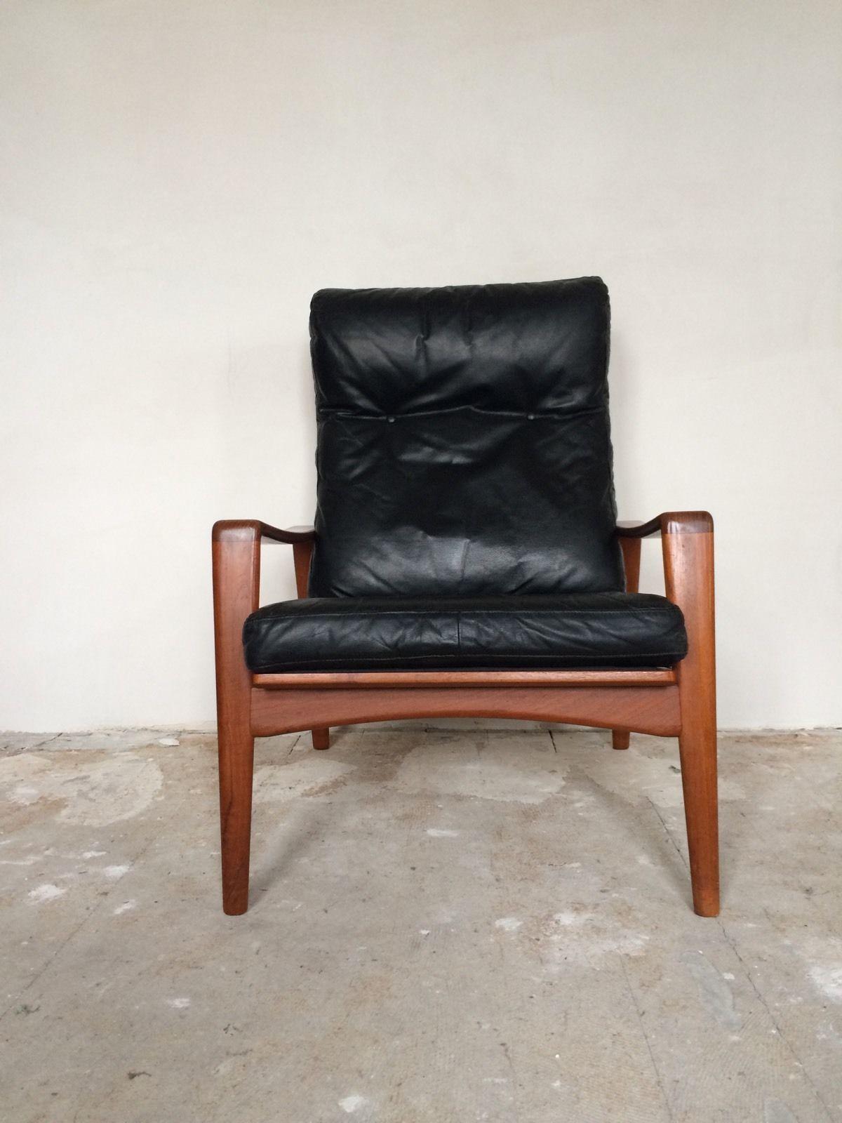 arne wahl iversen komfort lounge chair teak 60s danish design leder sessel 60er 3 arne wahl. Black Bedroom Furniture Sets. Home Design Ideas