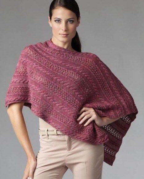Asymmetric Poncho Free Knitting Pattern And More Free Knitting