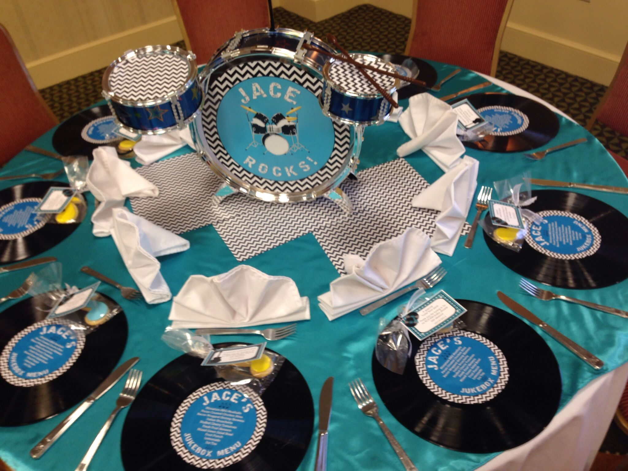 Boys Rock Music Baby Shower Drums Guitars Vinyl Records