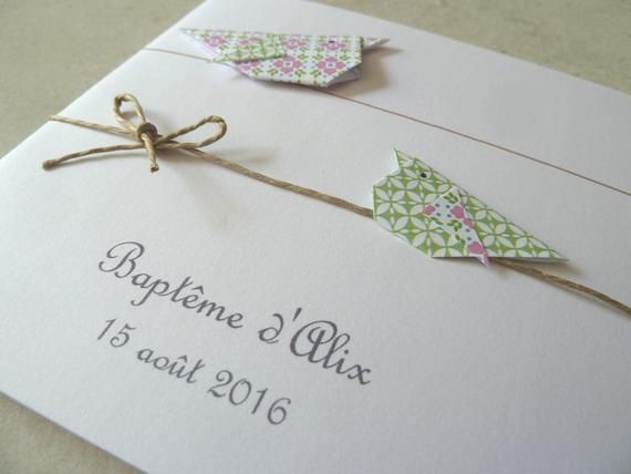 Photo of Share birth or baptism invitation, original for girl – double card, birds in pink origami, green / h