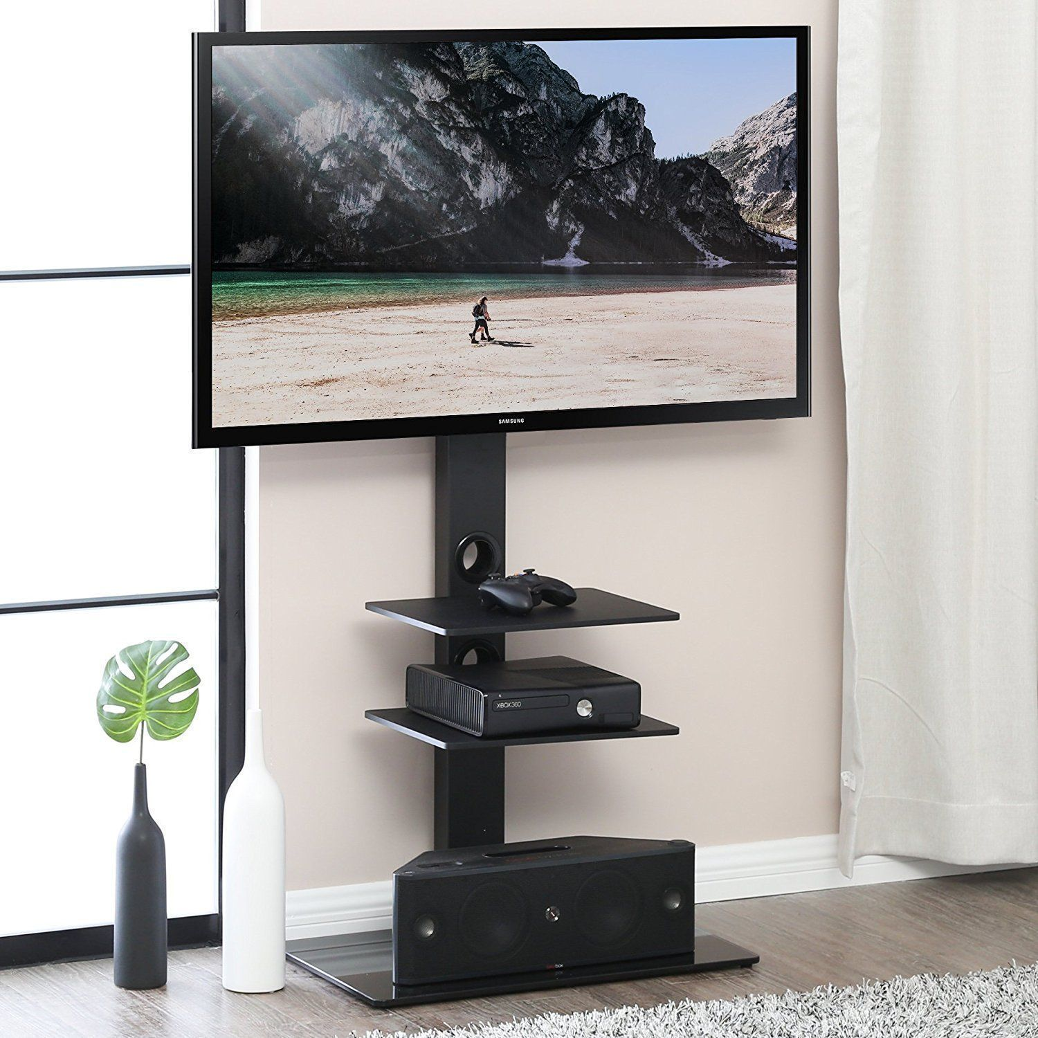 Amazon Com Fitueyes Tt207001mb Swivel Tv Stand And Mount For 32 65