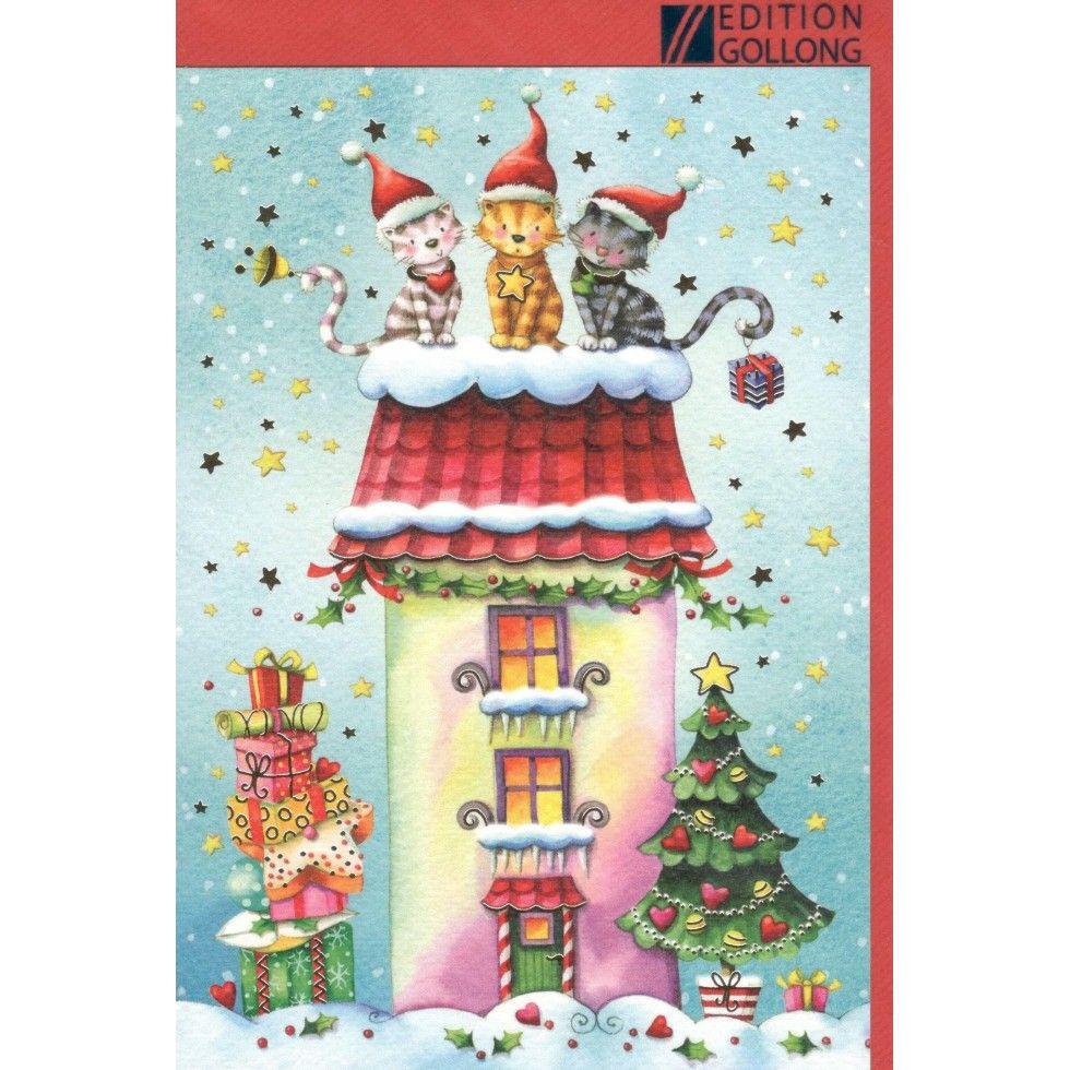 Trois Chats, Noël, Carte de Souhait, Idée Cadeau, lideecadeauweb