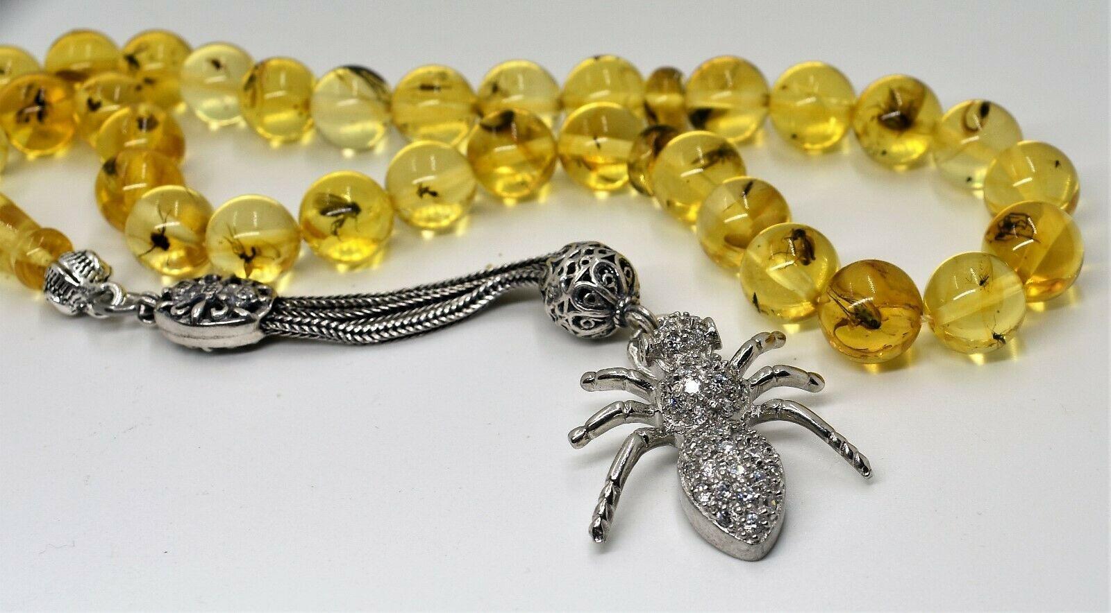Insekt Bernstein Natural Baltic Amber Tesbih Kehribar Insekt Quaste Silber 925 Armband Mit Anhangern Insekten Silber 925