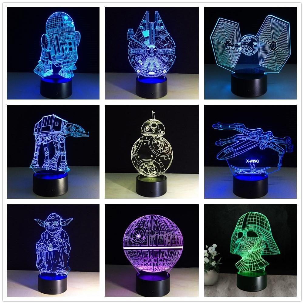 3d Star Wars Lamp 7 Color Led Usb Night Light For Kids In 2020 Star Wars Lamp Night Lamps Star Wars Colors