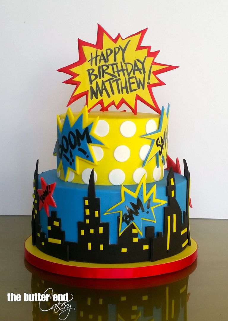 Superhero Comic Book Birthday Cake By The Butter End Cakery