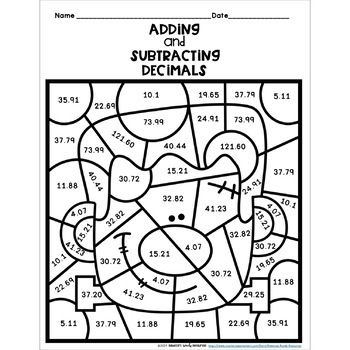 Adding and Subtracting Decimals: Color by Number-Halloween