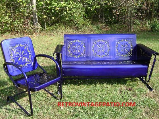 Great Illusion Blue Coated On A Vintage Heavy Metal Porch Patio Glider Swing