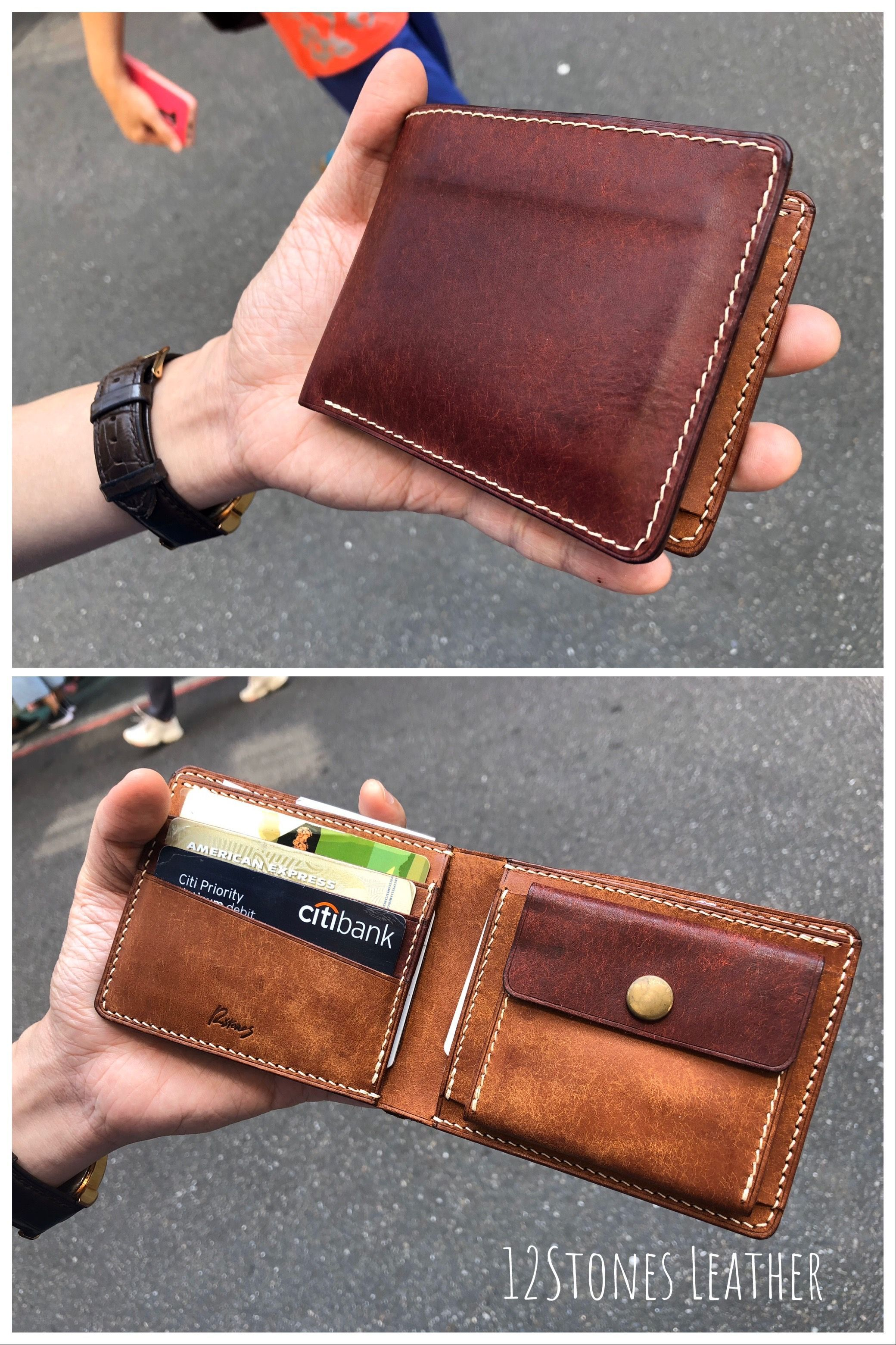 Bifold wallet Leather dark blue wallet with a compartment for coins Personalized leather wallet mens
