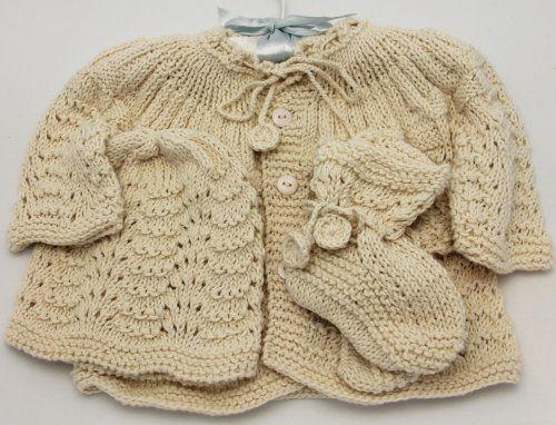 Handmade Newborn Baby Sweater And Hat Set Natural 100 Hand