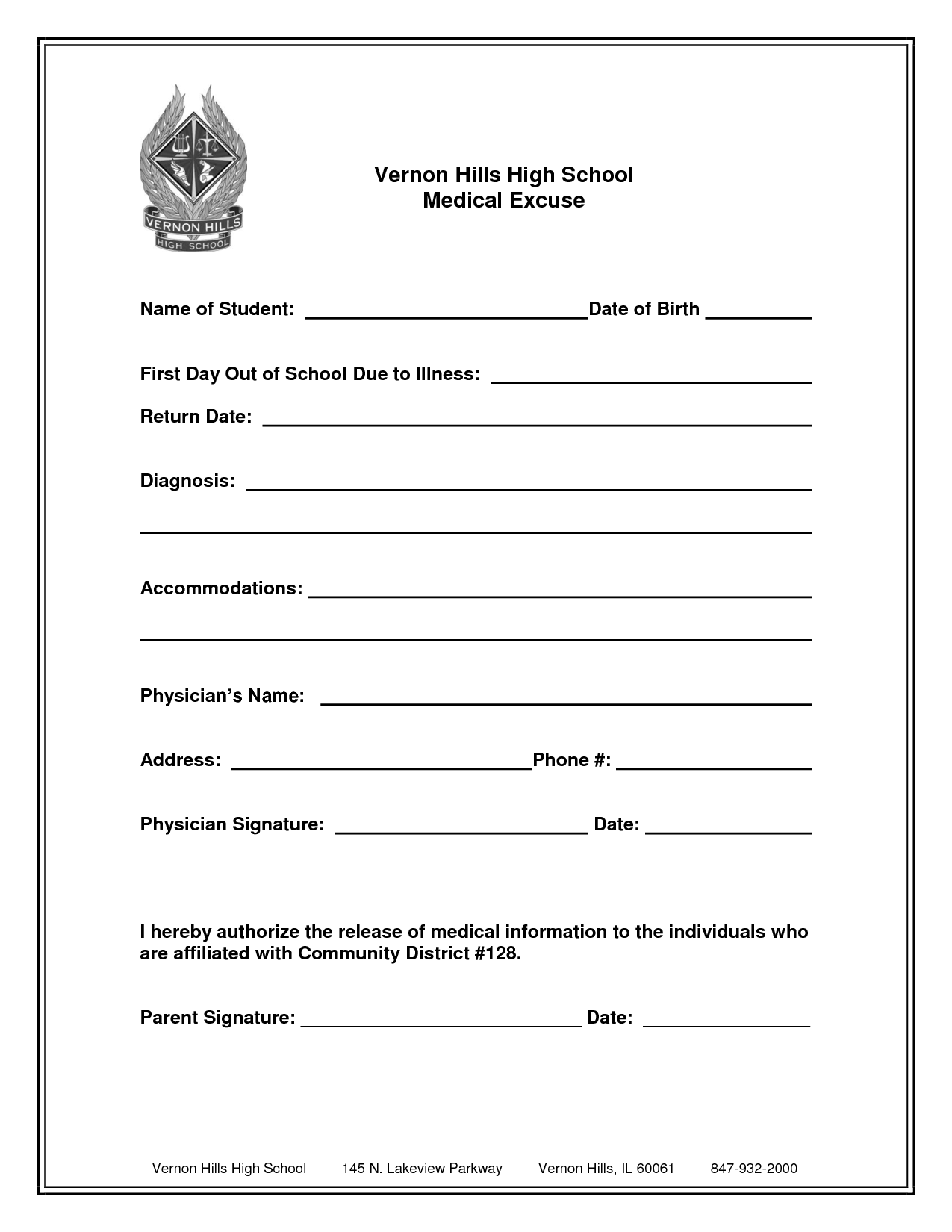 free printable medical excuse forms