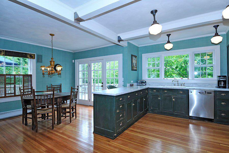 Teal dark cabinets | Kitchen design color, Blue kitchen ...
