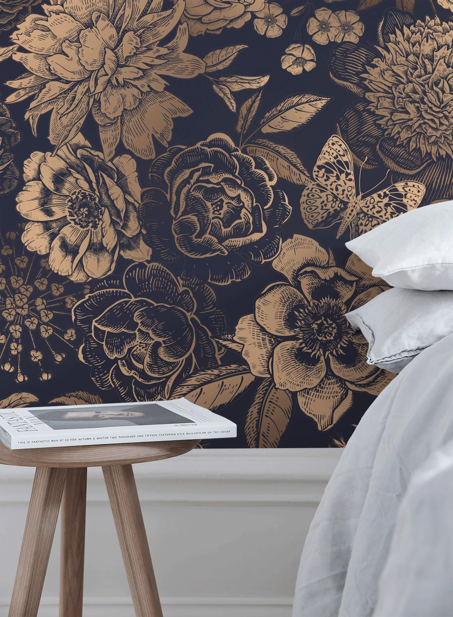 Removable Wallpaper Peel And Stick Wallpaper Wall Paper Wall Mural Vintage Flower Non Metalic Gold Color A922 Removable Wallpaper Peel And Stick Wallpaper Wall Wallpaper