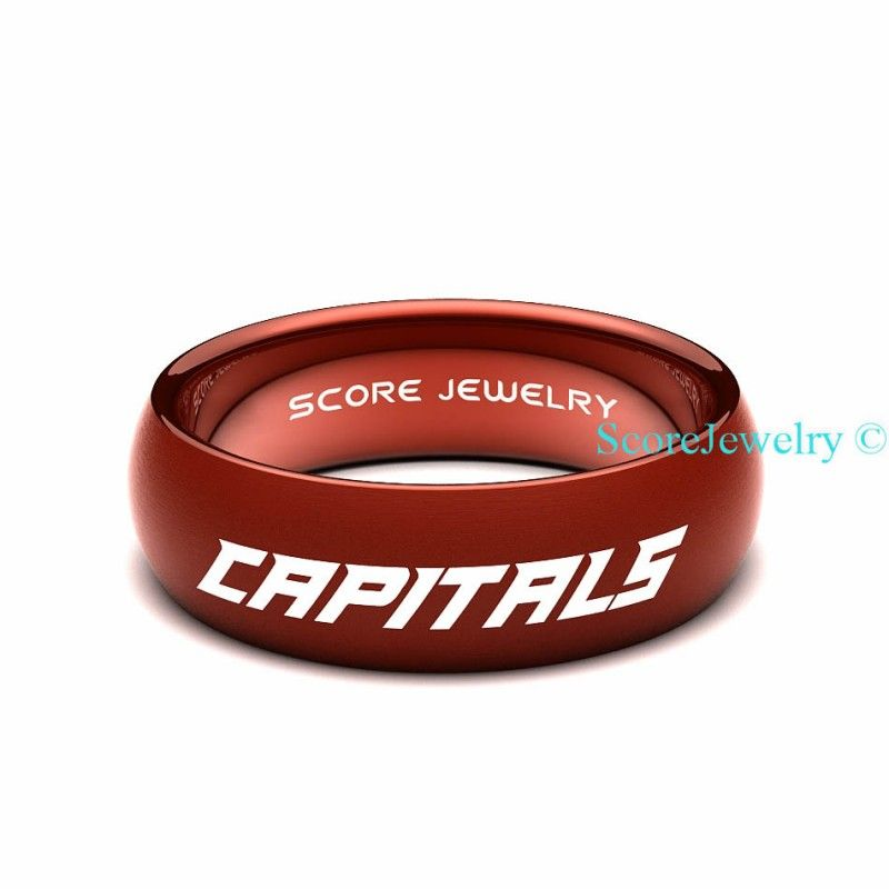 Red Tungsten Band Ring Mens Womens Ring Nhl Hockey
