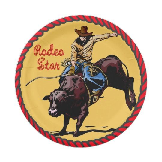 Western Party Bull Riding Paper Plates 7 Inch Paper Plate  sc 1 st  Pinterest & Western Party Bull Riding Paper Plates 7 Inch Paper Plate | COWBOY ...