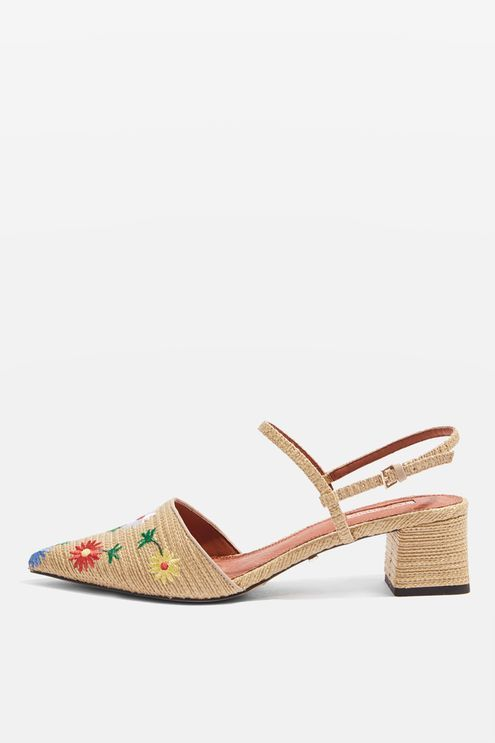 4be053ff0 JASMINE Embroidered Mid Heel Shoes