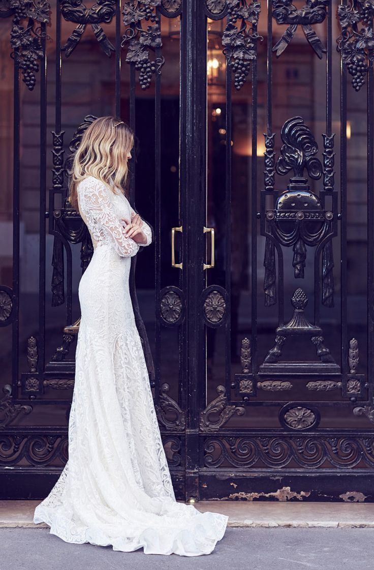 Long sleeve lace wedding dress 2018  Lost in Parisud Bridal Editorial  engagement photo ideas  Pinterest