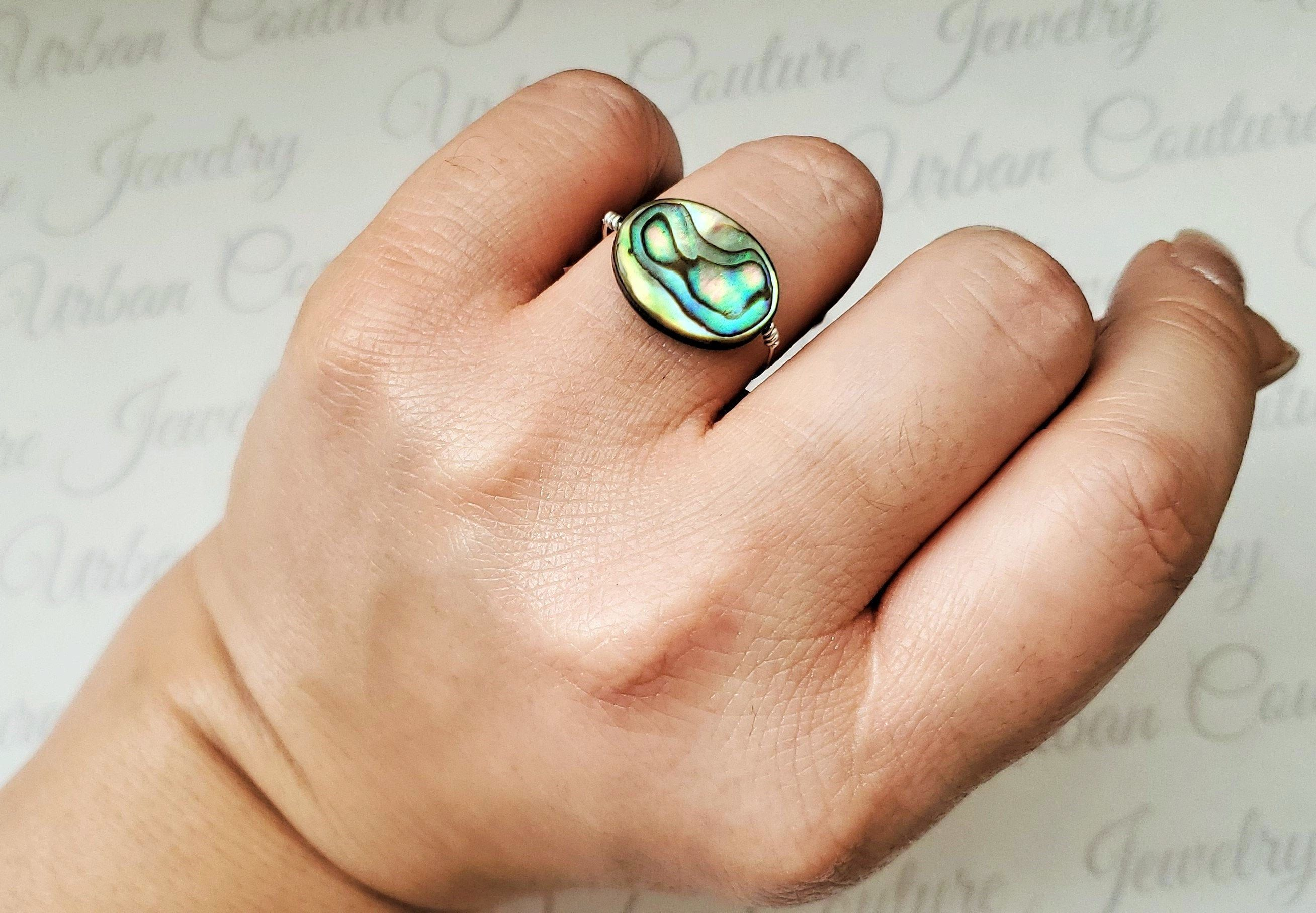 Abalone Shell Peridot Quartz Ring Woman Gemstone Ring Jewellery Gift For Girl New Style Ring Sterling Silver Plated Ring Gift For Her