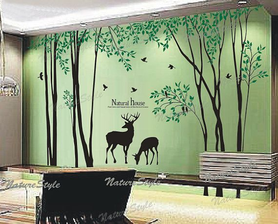 Birch Tree With Flying Birds And Deer Wall Decal Nursery Wall Decal Baby  Girl Room Decal Wall Decal Children Wall Decal Deer